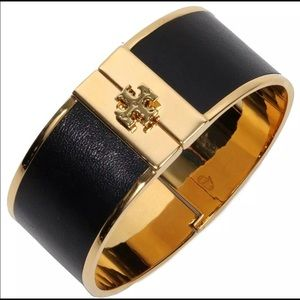 Tory Burch NWT Skinny inlay cuff black gold Logo